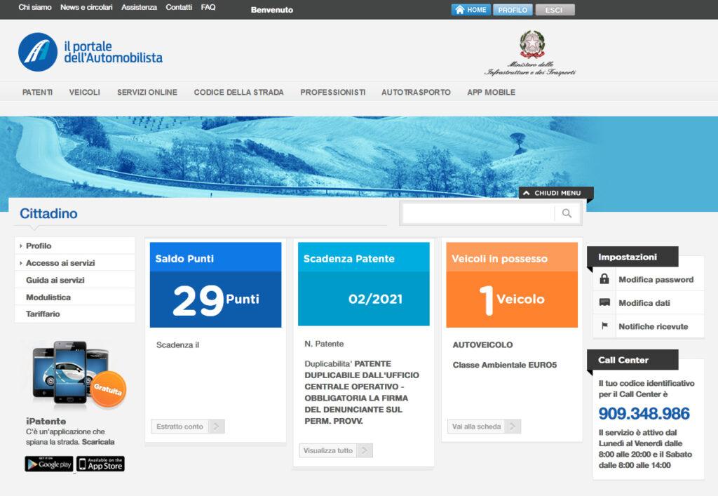 portale automobilista schermata